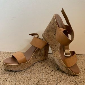 Tan Cork Wedge Sandals